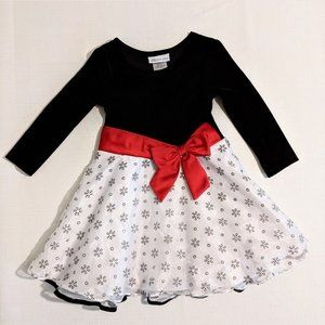 Bonnie Jean Black & White Dress with Red Bow, 4T